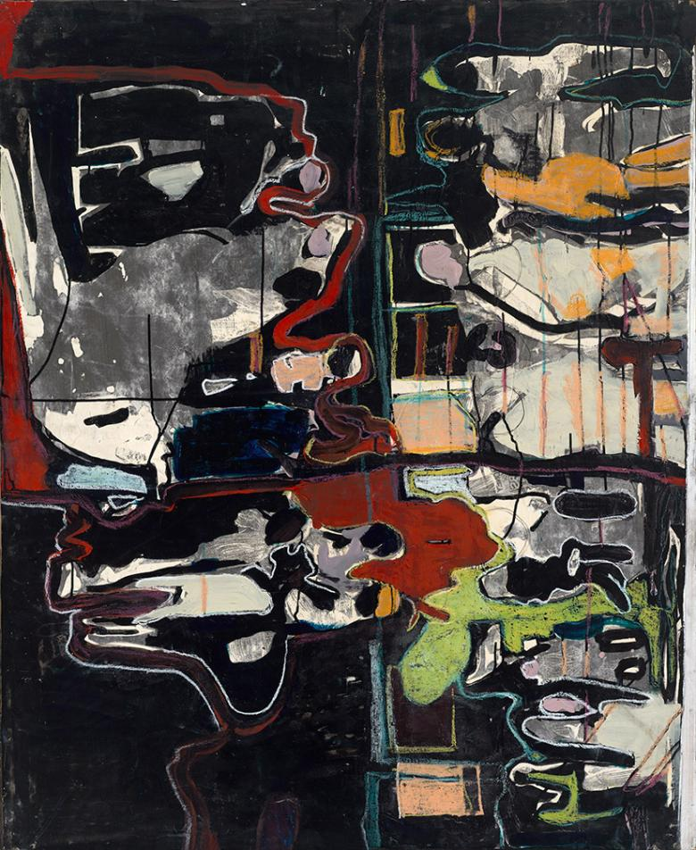 Figures on Black.  Mixed media on wood, 57x42 in - 130x106 cm. Fig. 012