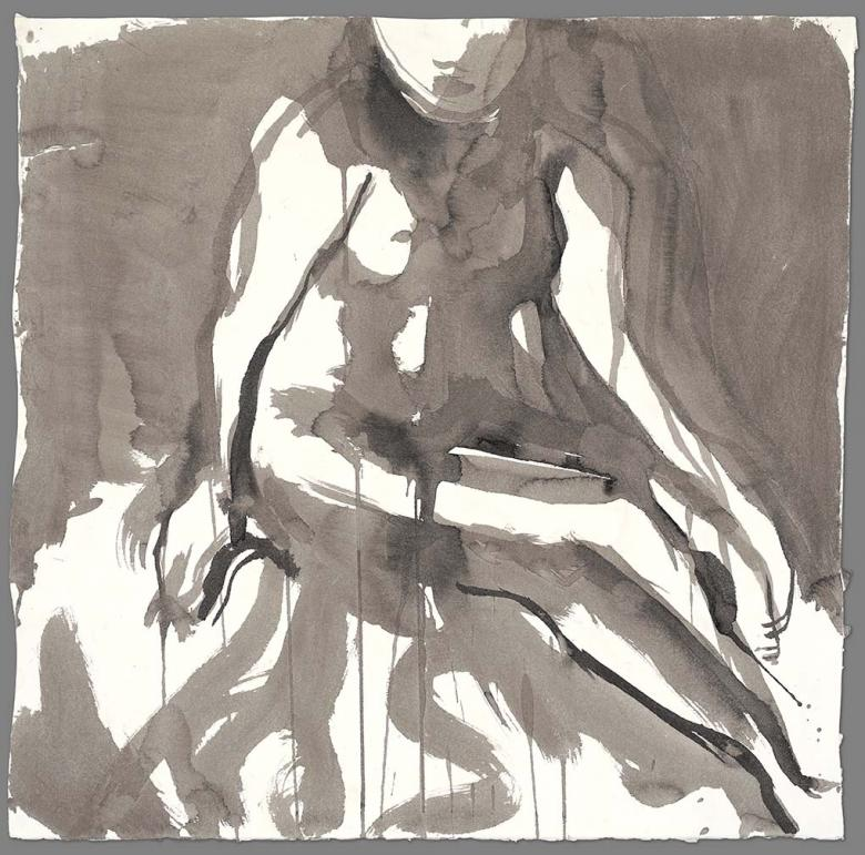 Seated woman. Ink on high quality acid-free art paper, 22x22.3in - 56x56.6cm. Fig. 129