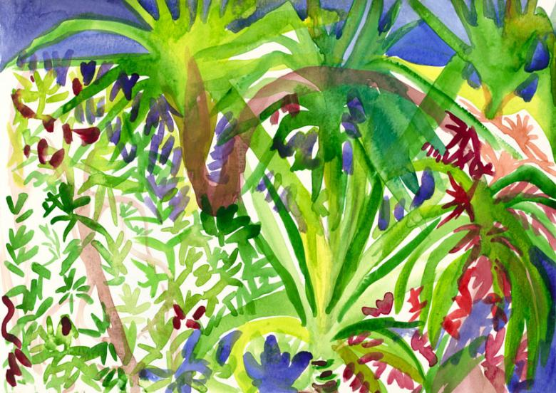 Forest. Watercolor on high quality acid-free art paper, 8.1x11.5in - 21x29.5cm. Fig. 200
