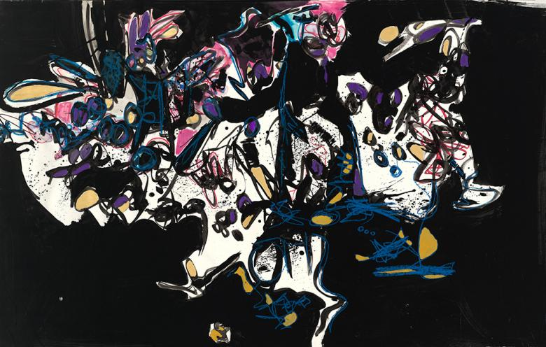 Abstract with Black Background.  Acrylic on wood, 36.6x56 in - 90.5x142cm.  Fig.002