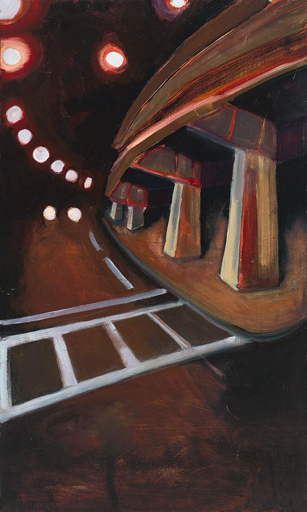 Subway.  Acrylic on wood, 40x24 in - 102x 6 cm. Fig. 011.