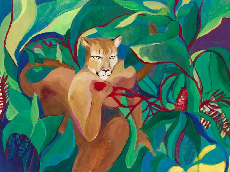 Lion in Jungle. Acrylic on canvas, 30x40in- 76x101cm.  Fig. 016