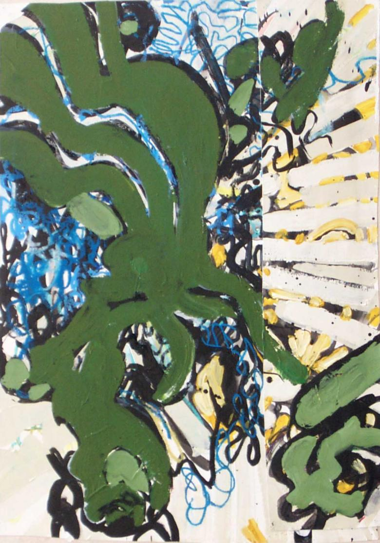 Abstract with Green Waves. Acrylic and ink on canvas, 25x19in - 67x48cm. Fig. 023