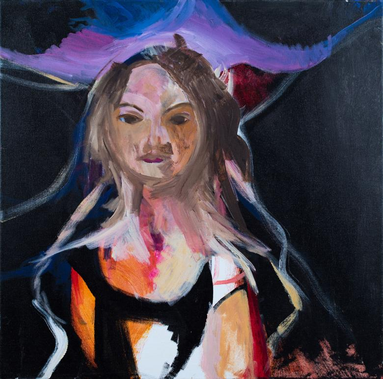 Woman with Aura. Acrylic on canvas, 24x24in - 61x61. Fig. 040