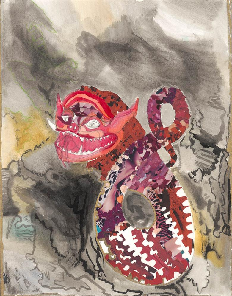 Dragon. Mixed media on high quality acid-free paper, 17.5x13.8in - 44x35cm.  Fig. 042