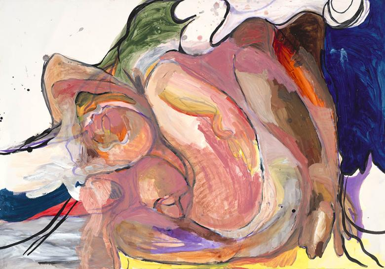 Figures in Pink. Gouache, acrylic on high quality acid-free art paper 27.7x39.7in - 70.5x100.5cm. Fig. 052