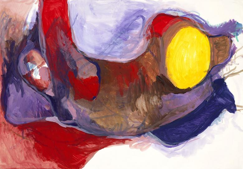 Figure in Red and Violet. Gouache on high quality acid-free art paper, 27.7x39.7 - 70.5x101cm. Fig. 053