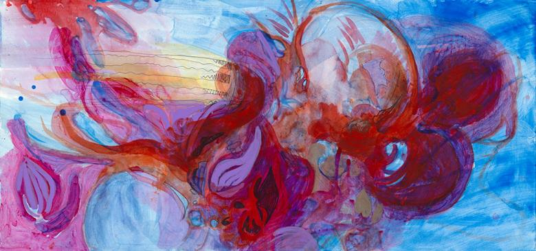 Abstract with Blue and Red. Mixed media on art paper, 13x28 in - 33.2x70.5 cm. Fig. 068
