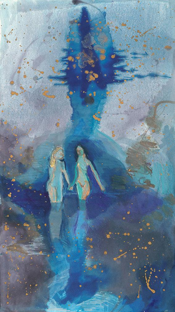 Two Figures in Blue. Mixed media on quality acid-free paper, 18x32in - 45.5x81cm. Fig. 120