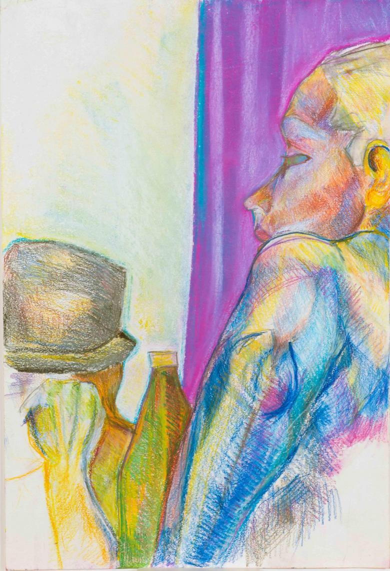 Girl with Hat. Pastel on paper, 22x15n - 56x38. Fig. 122