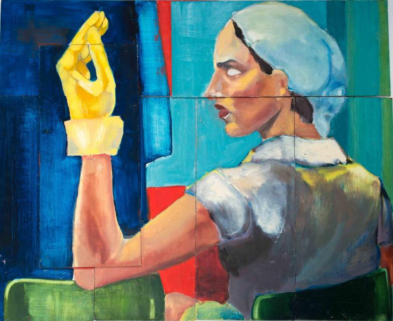 Woman with Yellow Glove. Acrylic on 8 wood panels, 8x18in - 20.4x45.6cm. Fig. 172