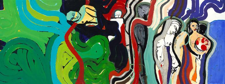 Figures in Waves. Mixed media on high quality acid-free art paper, 36x95in - 91x240cm. Fig. 173