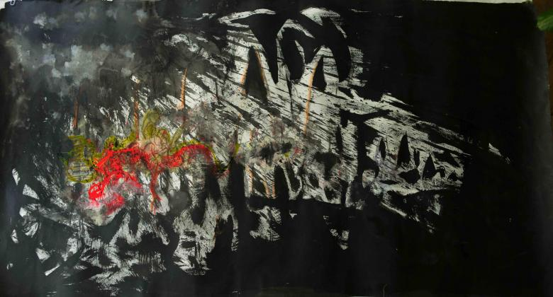 Burst.  Sumi ink, acrylic on paper, 60xi34 in - 152.5x86 cm. Fig. 176