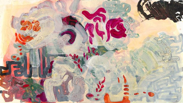Abstract with Roses. Acrylic and pencil on panel, 18x32.5in - 46x81cm, Fig. 181