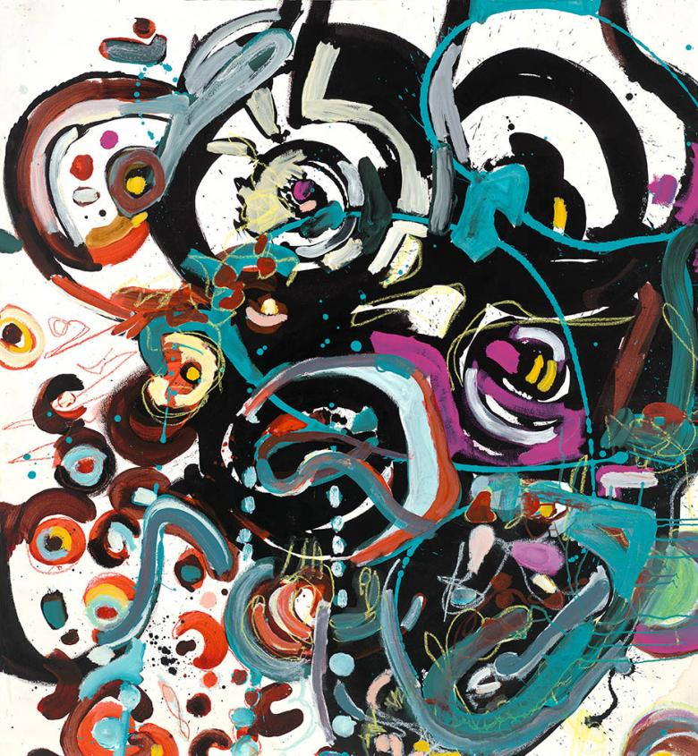 Abstract with Circles. Acrylic on high quality acid-free art paper, 51x55.5 - 130x141cm. Fig.185