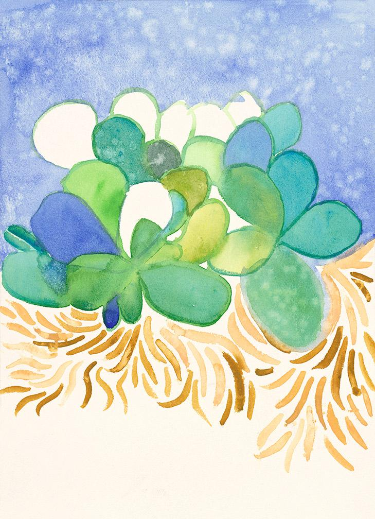 Flowers on Blue. Watercolor and ink on high quality acid-free art paper, 10.2x14.2 - 26x36cm. Fig. 199
