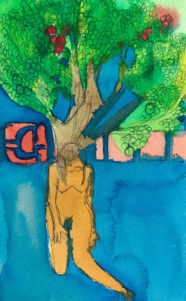 Woman under the Tree. Ink, watercolor and pencil on paper, 6x9.5in - 15x24.5cm.  Fig. 218