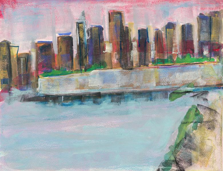 Manhattan. Gouache and mixed media on high quality acid-free art paper, 9x11.6in - 23x29.5cm. Fig. 259