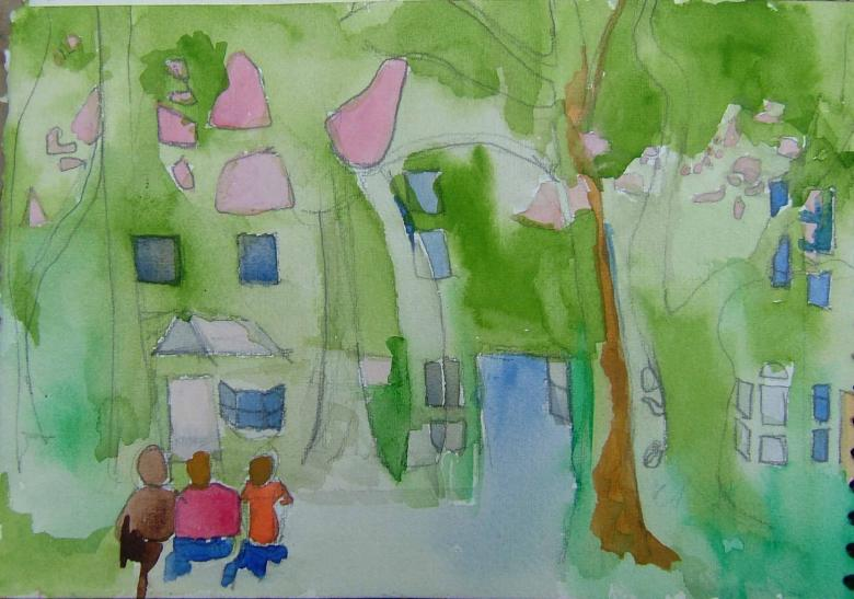 Neighborhood. Watercolor and pencil on paper, Fig. 284