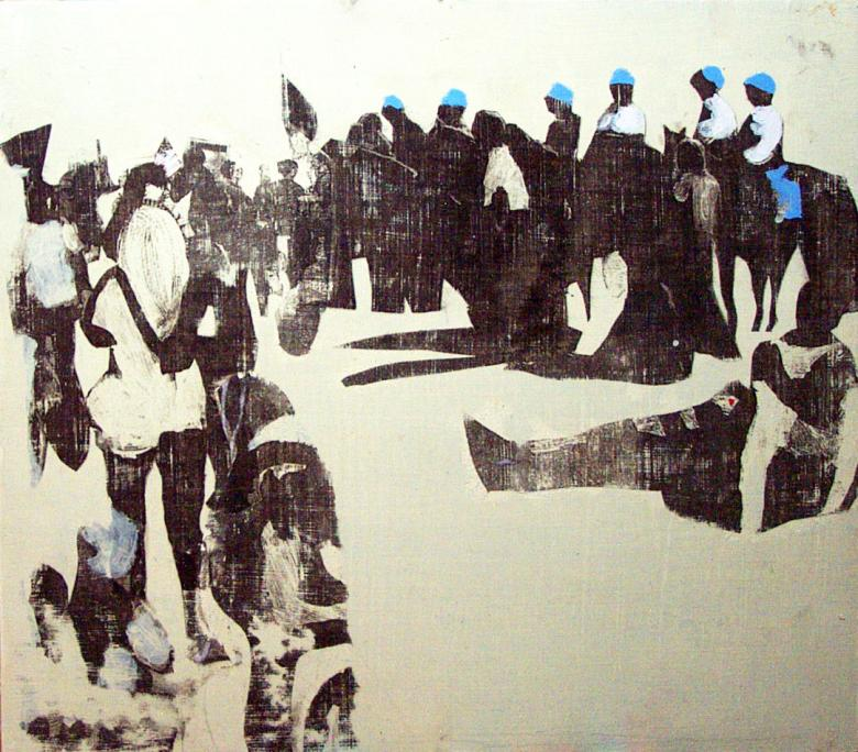 Demonstration. Acrylic and sumi ink, Xerox transfer. Fig. 293