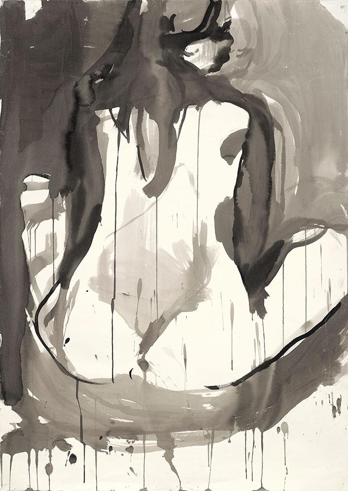 Seated woman. Ink on high quality acid-free art paper, 41.5x29.5in - 105x75cm. Fig. 308