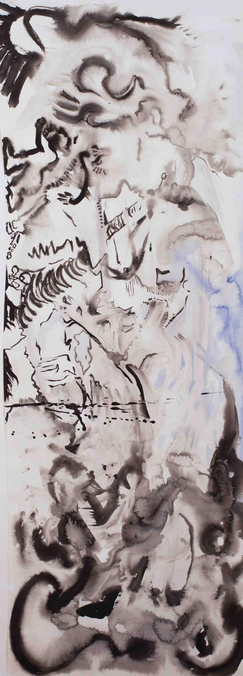 Abstract Lansdcape. Sumi ink on high quality acid-free art paper, 60.5x22in - 151x56cm. Fig. 319
