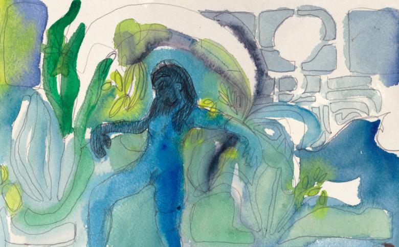 Abstract with Blue Woman. Watercolor and pencil on arches paper, 6x9.5in - 15x24.5cm. Fig. 332