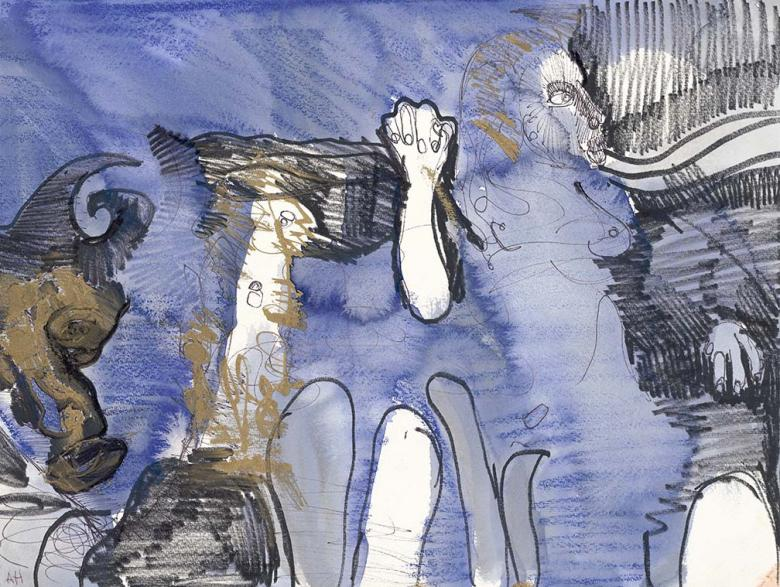 Figures on Blue and Gold. Mixed media on on high quality acid-free art paper. Fig. 348