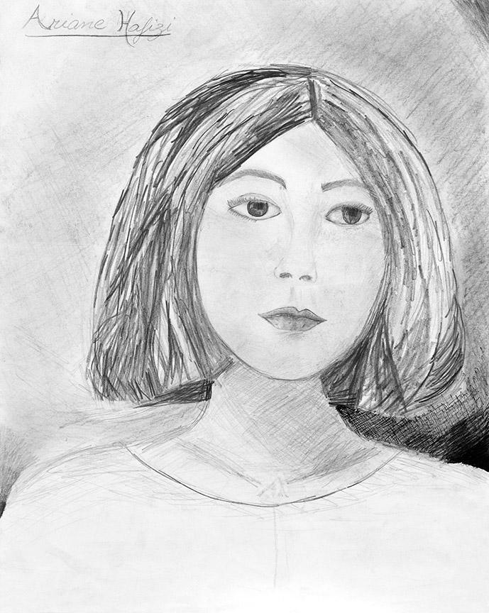Ariane in her Teens. Pencil on paper, 27.8x14in - 45x35.4cm. Fig. 130
