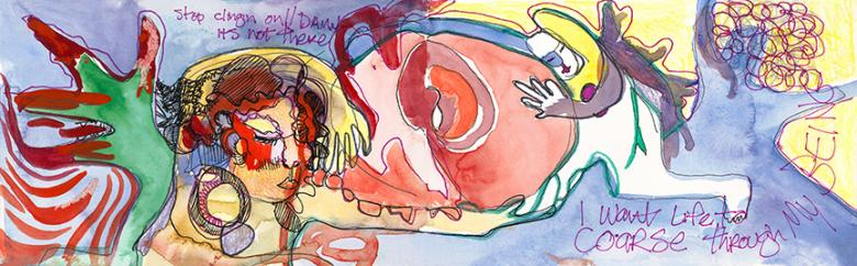 Stop Clinging…Watercolor and markers on paper, 5x16in - 13x41cm. Fig. 145