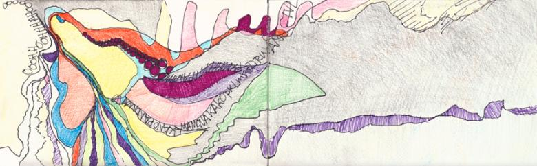 Ooohh.... Pencil and markers on paper, 5x16in - 13x41cm. Fig. 147
