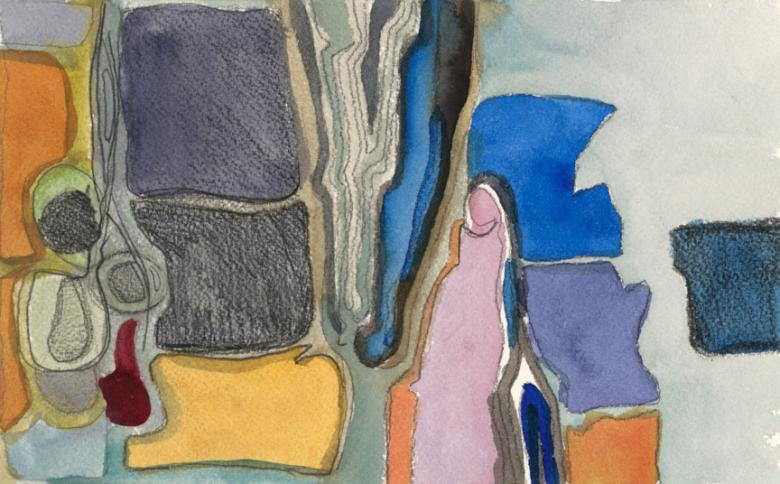 Abstract with Pink Figure, 2008.  Watercolor and pencil on paper, 6x9.5in - 15x24.5 cm. Fig. 216