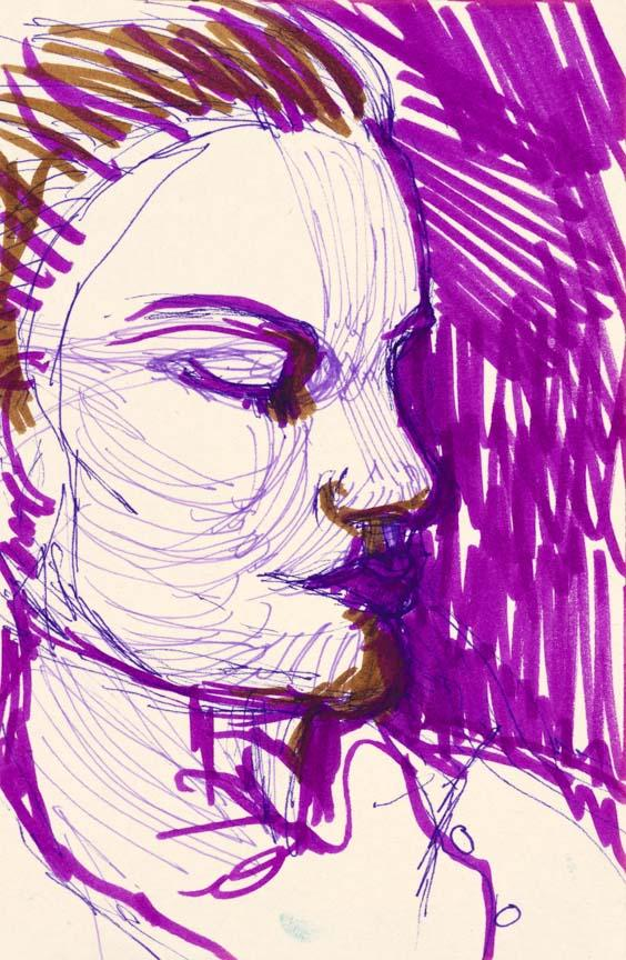 Woman in Pink.  Marker on paper, 7x4.6in - 17.7x12cm. Fig. 244