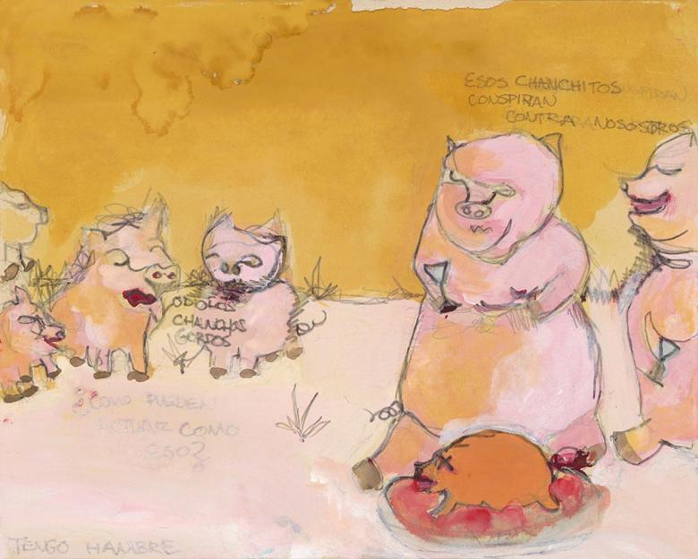 Chanchos.  Watercolor and pencil on paper, 9.4x11.8in - 24 x30cm. Fig.258