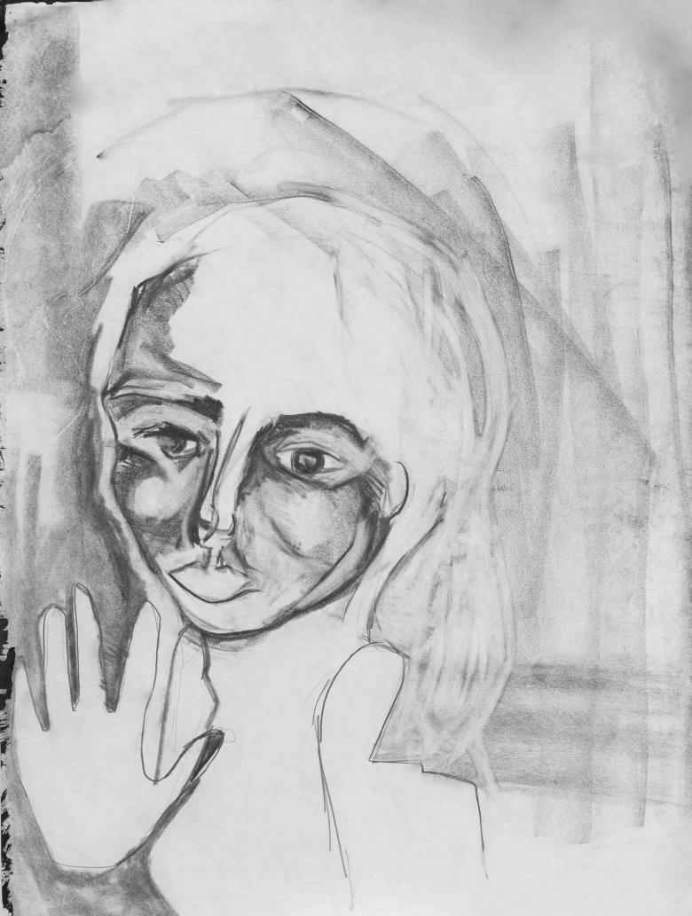 Woman with Hand Up. Pencil on paper. 24x18in - 60.5x46cm. Fig. 131