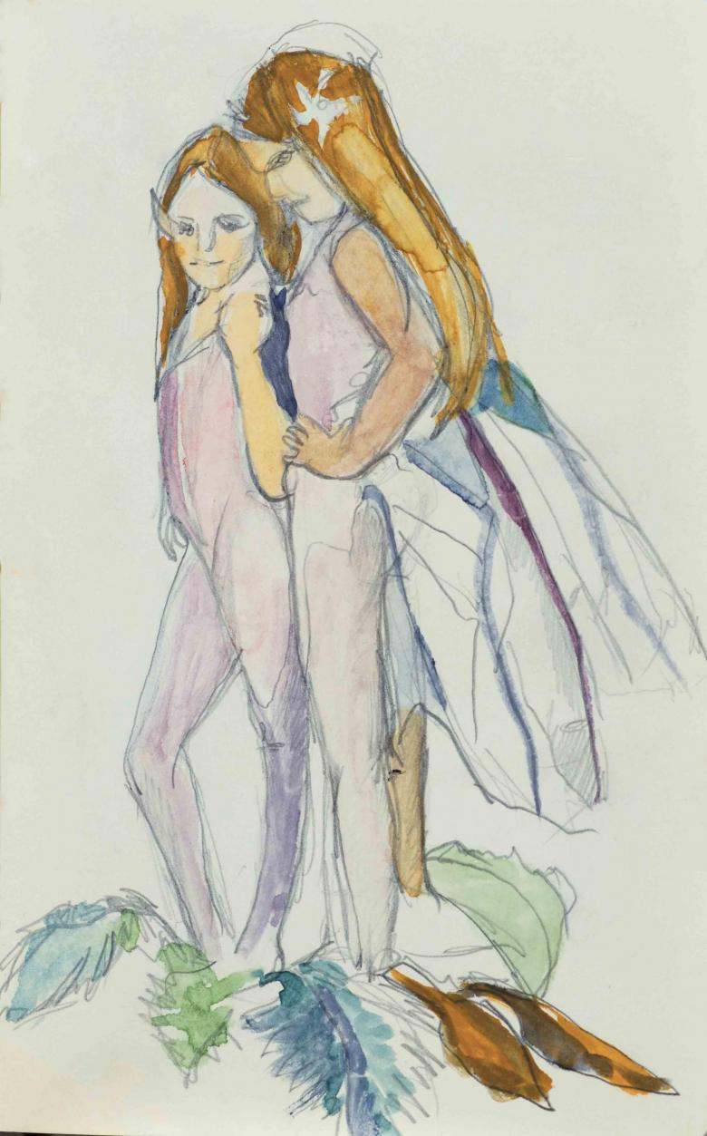 Fairies. Watercolor and pencil on paper, 8.4x5.2in -21.3x13.2 cm. Fig. 136