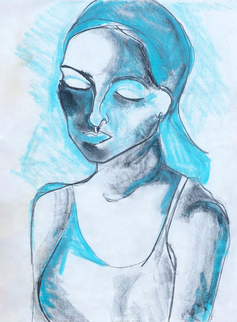 Ariane in Turquoise. Charcoal and pastel on paper, 24x18in - 60.5x46cm. Fig. 164