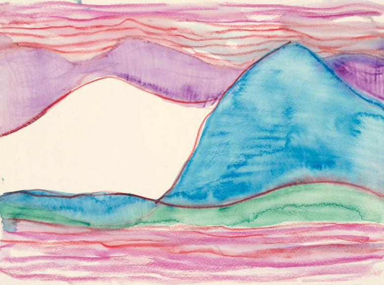 Abstract with Blue Mountain. Watercolor and pencil on paper, 9x12in - 22.5x30.5cm. Fig. 197