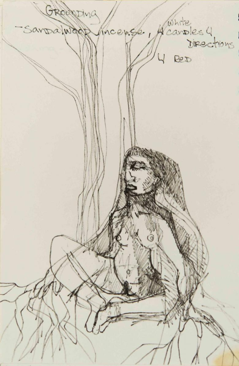 Grounding/ Sandal/ Wood/ Incense. Ink on paper, 10x6.5in - 25x16.5cm. Fig. 205