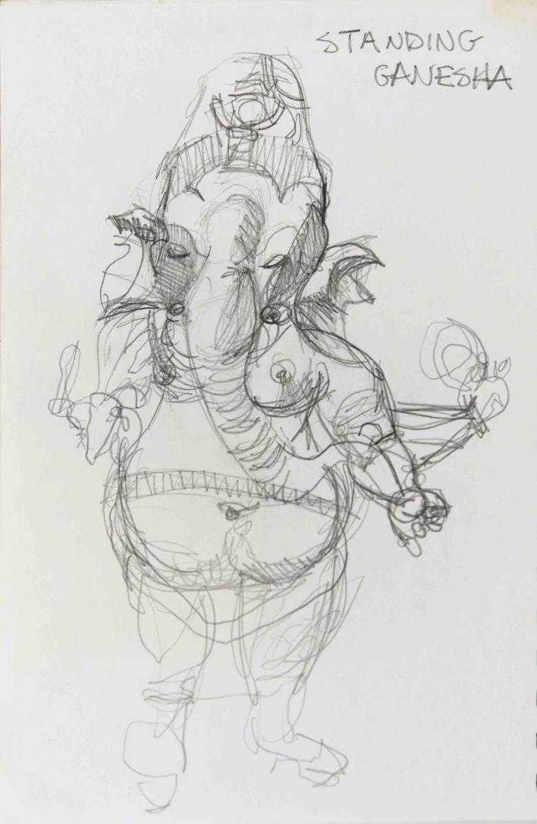 Standing Ganesha. Pencil on paper, 10x6.5in - 25x16.5cm. Fig. 207