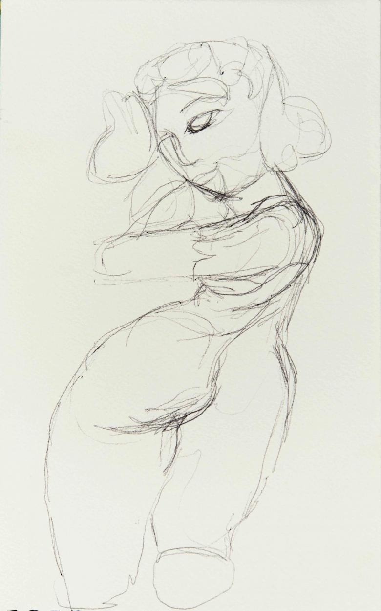 Woman in Movement. Pencil on Arches paper, 9.5x6in - 24.5x15cm. Fig. 215