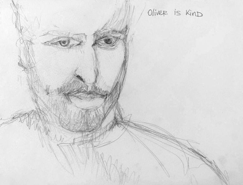Oliver is kind. Pencil on paper, 9x11.5in- 22.8x29.cm. Fig. 226