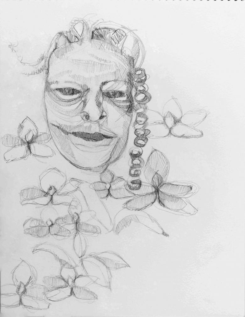 Man and Flowers. Pencil on paper, 11.5x9in- 29.2x22.8cm. Fig. 229