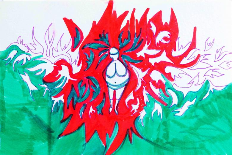 Woman on Red. Watercolor and permanent markers high quality acid-free art paper, 7.6x10in - 17x25.5cm. Fig. 233