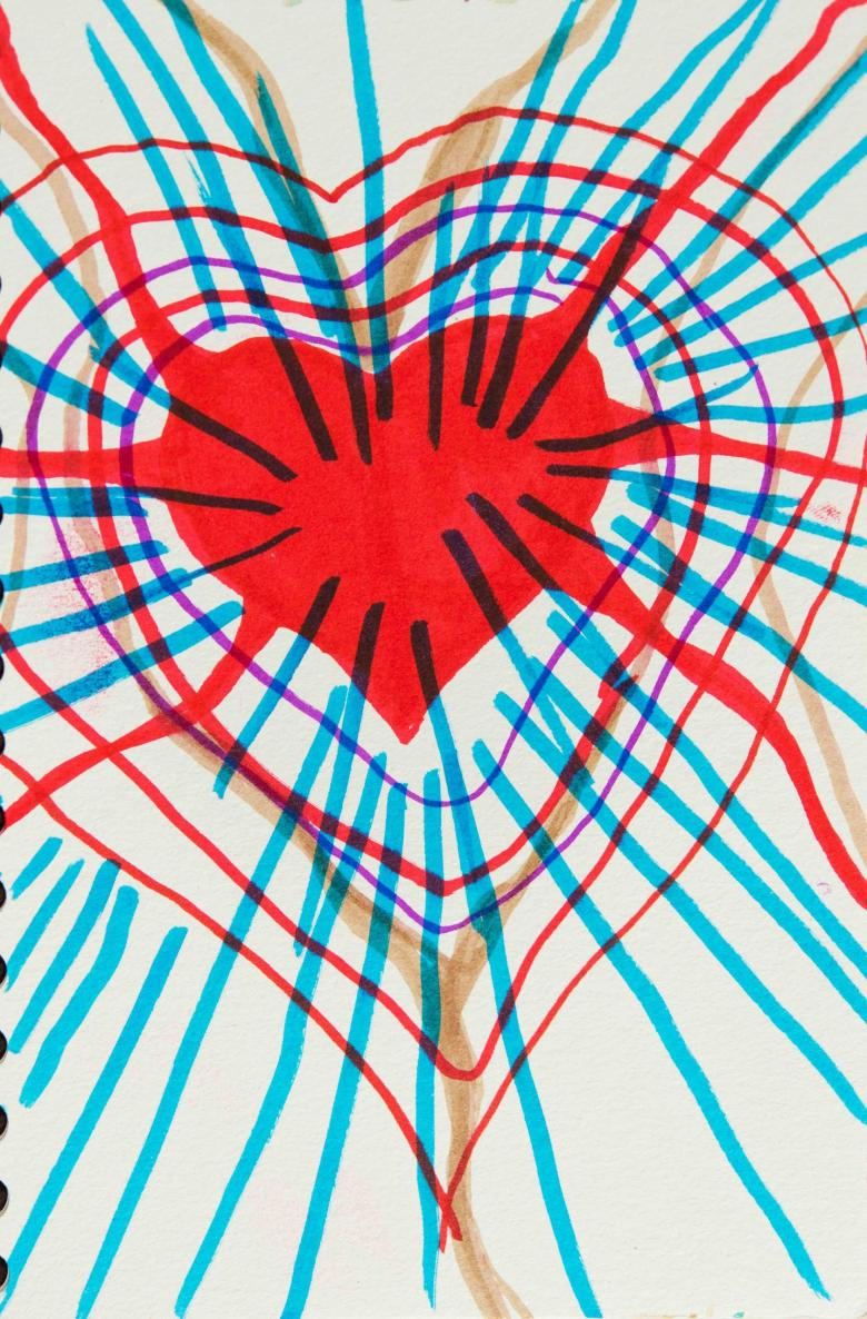 Radiant Heart.  Marker on paper, 7x4.6in - 17.7x12cm. Fig. 240