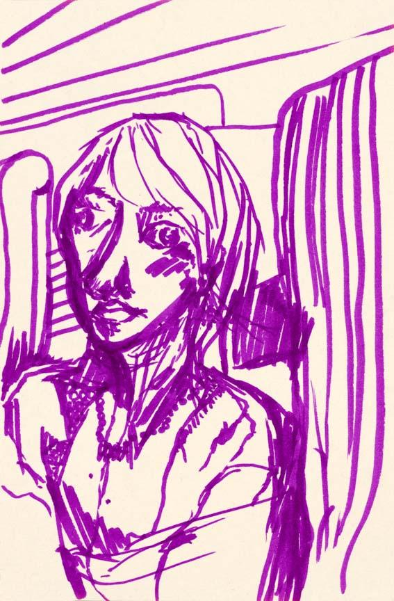 Woman in the Bus. Marker on paper, 7x4.6in - 17.7x12cm. Fig. 241
