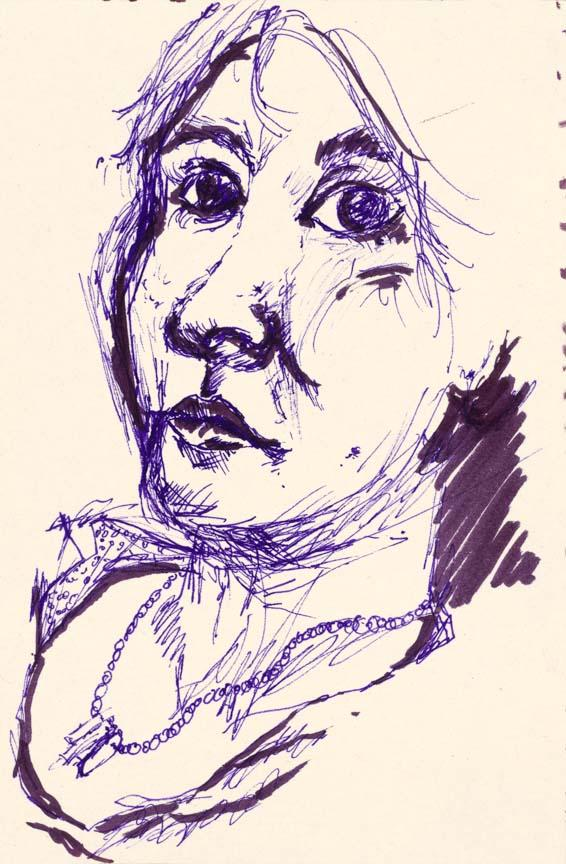 Woman with Necklace.  Marker on paper, 7x4.6in - 17.7x12cm. Fig. 243