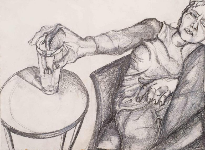 Woman with Glass. Pencil on paper, <br>24x30in - 61x76cm. Fig. 302